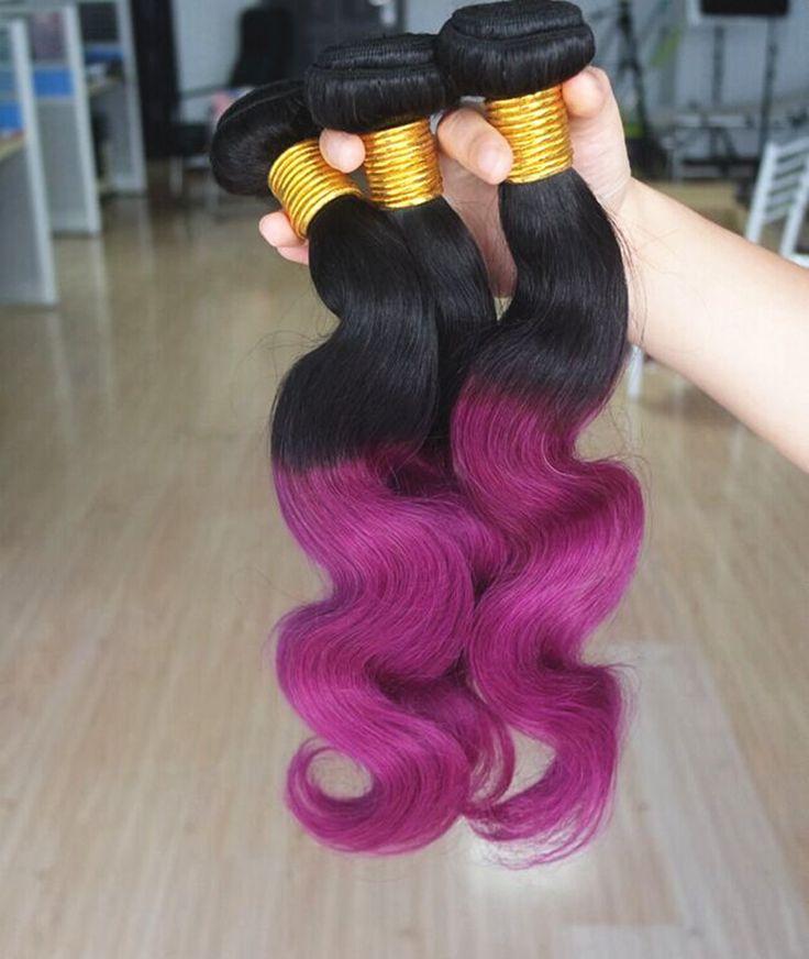Halo Lady Purple Body Wave Human Hair 4Pcs 2 Two Tones Ombre Color 1B Purple 27 Brown Blue Brazilian 100% Human Hair Extensions