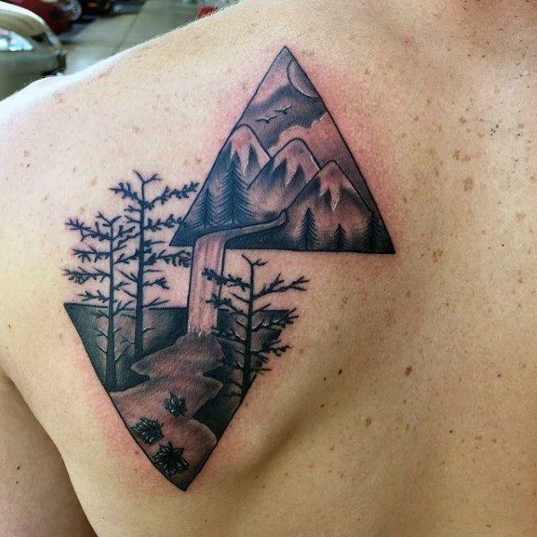 Mens Trees Waterfall Triangle Tattoo On Back