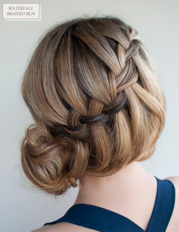 Oh the lovely things: DIY Waterfall Braided Bun by Hair Romance - i need someone to learn and then do this to my hair. i have tried and tried and cannot do it if-i-didn-t-hit-snooze-four-times-in-the-morning