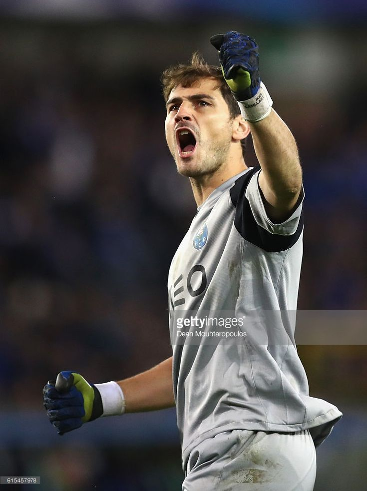Iker Casillas of FC Porto celebrates his team's second goal during the UEFA Champions League Group G match between Club Brugge KV and FC Porto at Jan Breydel Stadium on October 18, 2016 in Bruges, Belgium.