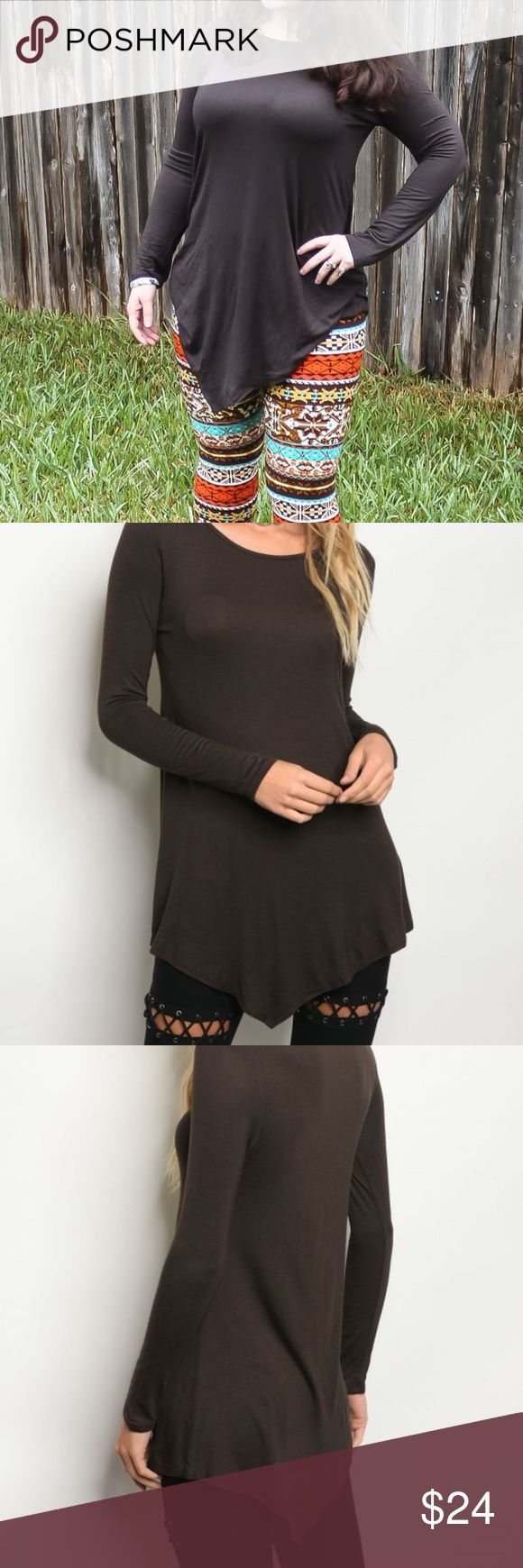 Brown Long Sleeve Top Super soft, stretch, long sleeve jersey tunic with a rounded neckline.  95% RAYON 5% SPANDEX Tops Tees - Long Sleeve