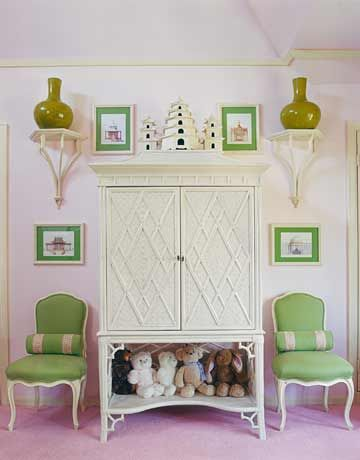 In a very theatrical Los Angeles, California home designed by Mary McDonald, the only pastel room is a young girl's bedroom. McDonald used a bold acid green as the accent color, giving a hint of drama to connect the room to the rest of the house.