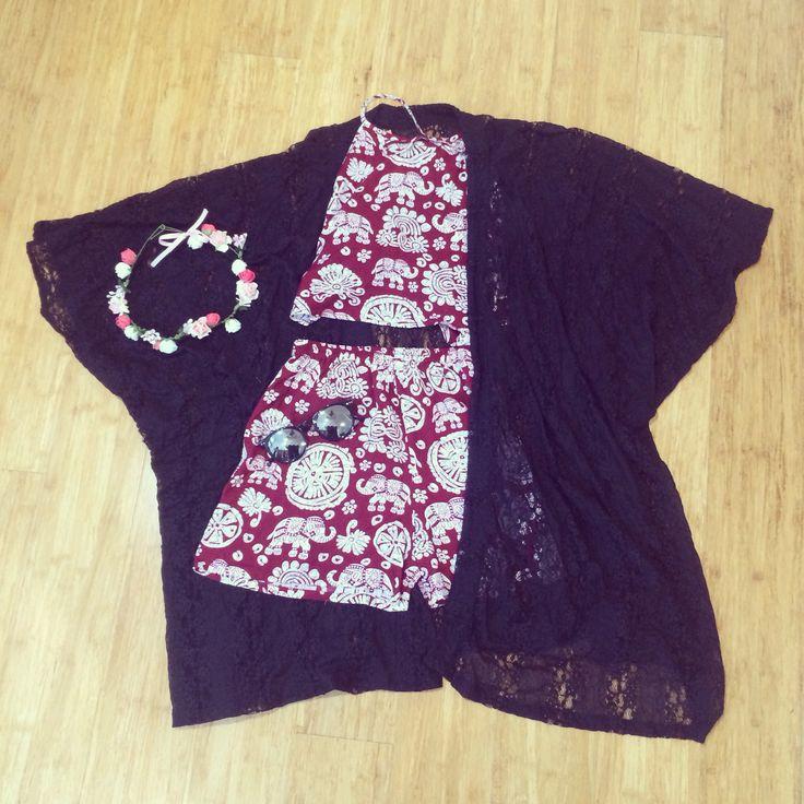 The Ellie set + Dahlia batwing kimono =