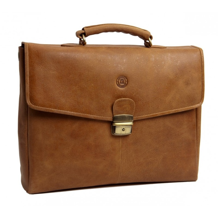 "Golden tan leather briefcase for PC & MacBooks. Available in sizes from 14"" - 16"". Price: $220. More information: www.dbramante1928.com."