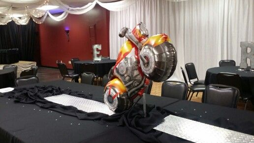 Head Table Retirement Party Harley Davidson Theme