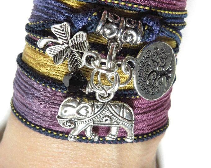 Bohème éléphant sacré Silk Wrap Bracelet arbre de vie Namaste Yoga bijoux trèfle poignet Wrap éléphant bouddhiste Unique cadeau d'anniversaire