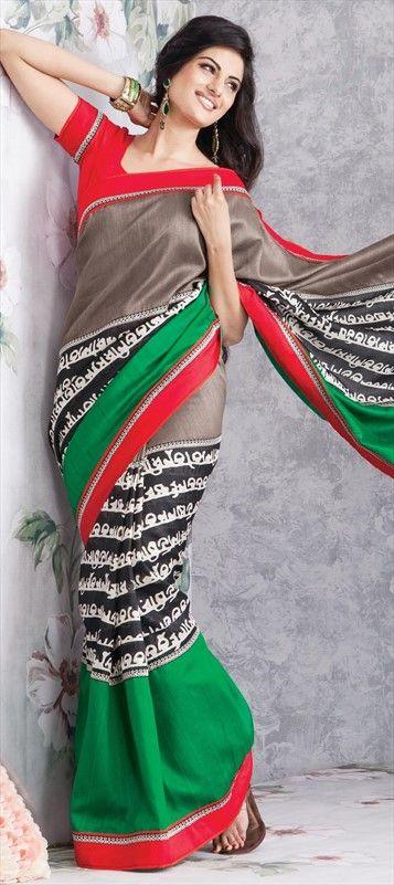 130152: SOUTH INDIAN SCRIPT PRINT. Shop here!!  #saree #sale #prints #silksaree