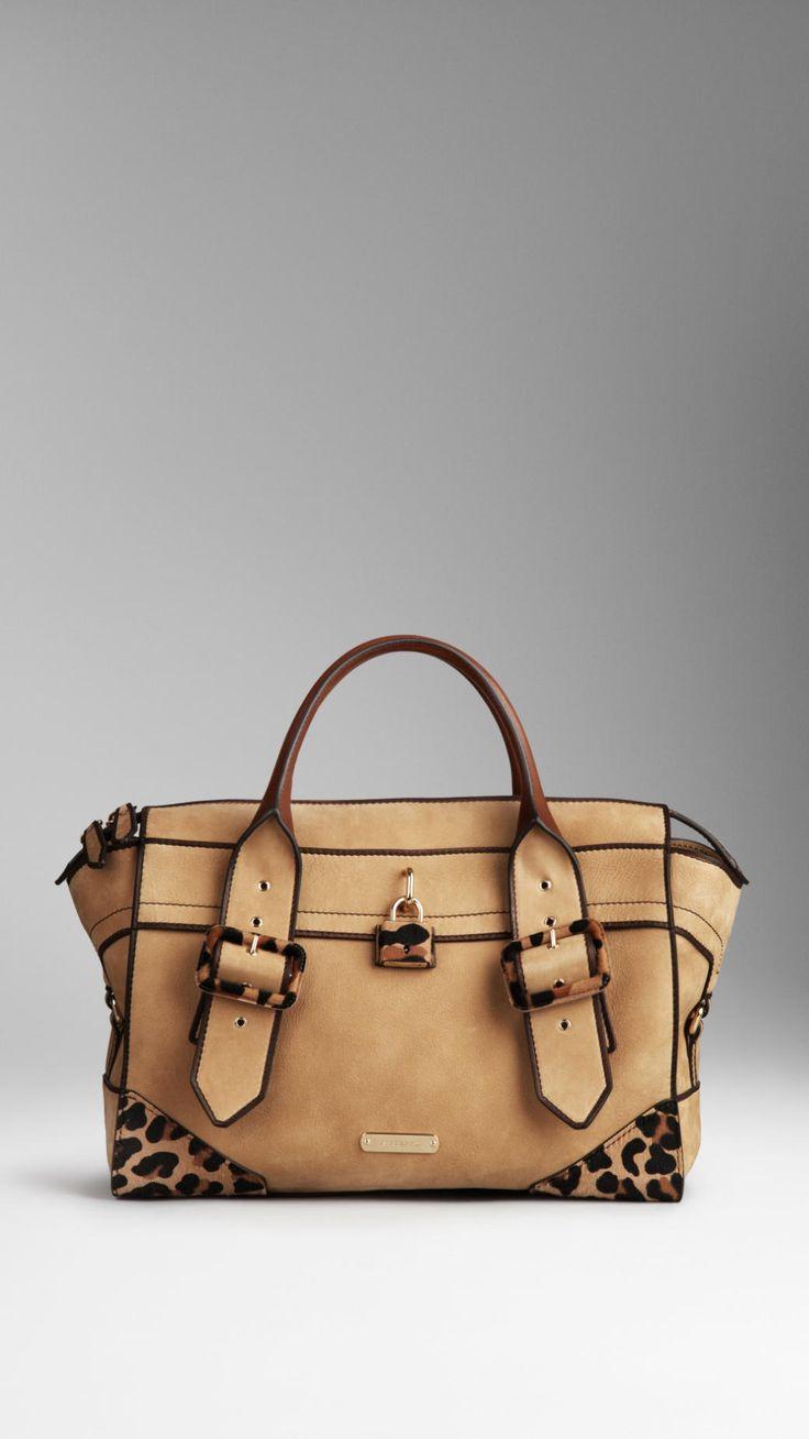 Small Animal Print Detail Nubuck Tote Bag | Burberry