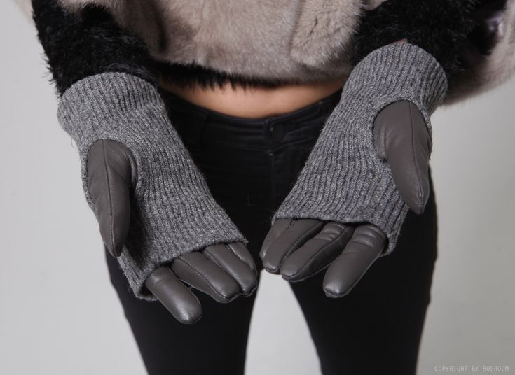 Wool knit leather gloves / Genuine leather gloves at bosroom.com #Leathergloves #Gloves #Sheepskingloves #Simplegloves #Wintergloves #Winter #Ootd #Acc #Accessory #Accessories #Hand #Leatheracc