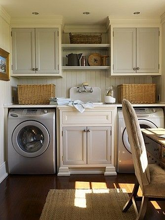 I want this laundry room!:-)Dreams Laundry Room, Cabinets Colors, Shelves, Room Ideas, Sinks, Laundry Area, Laundry Rooms, House, Laundryroom