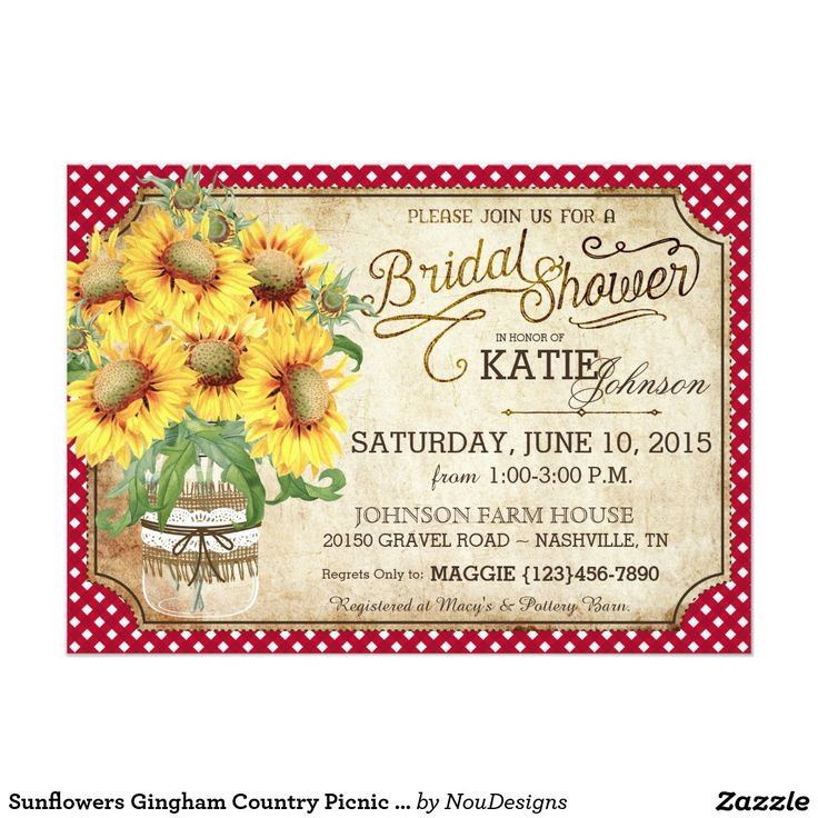 OMG!  How cute are these Sunflowers Gingham Country Picnic Bridal Shower invitations?  Love the red and white border, the jar of sunflowers and the fancy writing on them.  Perfect for a rustic bride!