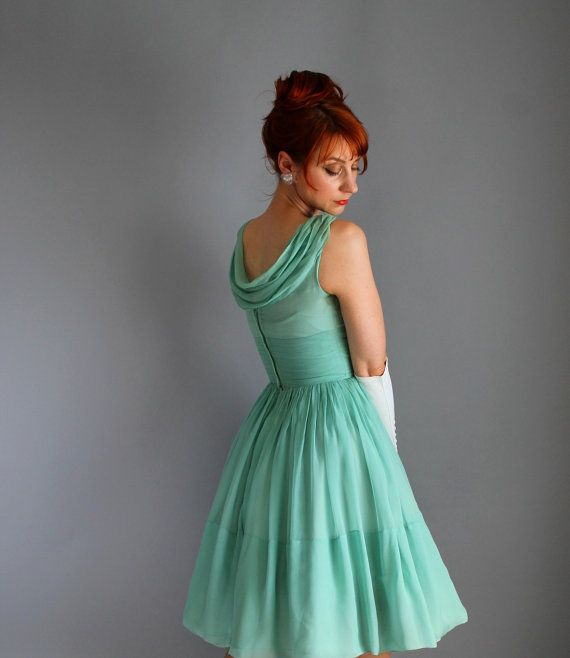 1950s Pastel Green Chiffon Party Dress. Formal. door gogovintage, $115.00