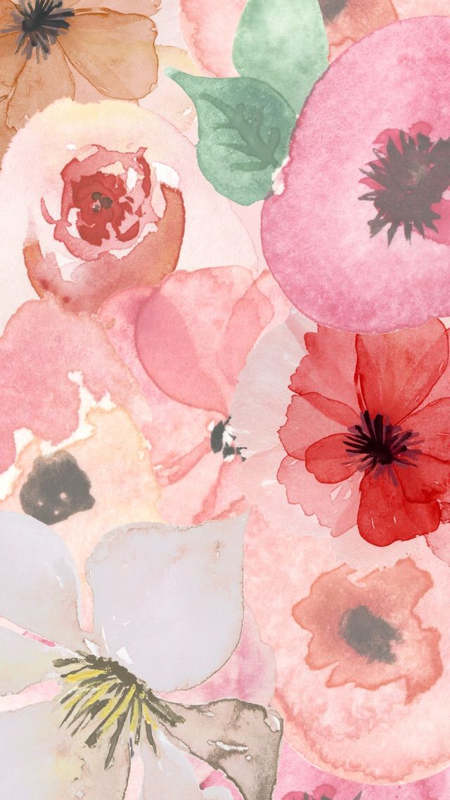 Floral watercolor design iphone wallpaper