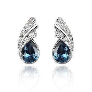 Genuine Austrian Crystal Tear Drop Stud Earrings Flowing TCDE0107 #Jewelry #WomensJewelry
