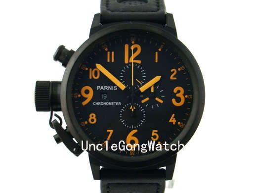 100.70$  Watch now - http://aliw4x.worldwells.pw/go.php?t=32419728115 - 50mm Parnis Orange Numbers Lefty Crown Big Face Full Chronograph Mens Watch PQ5003PBO