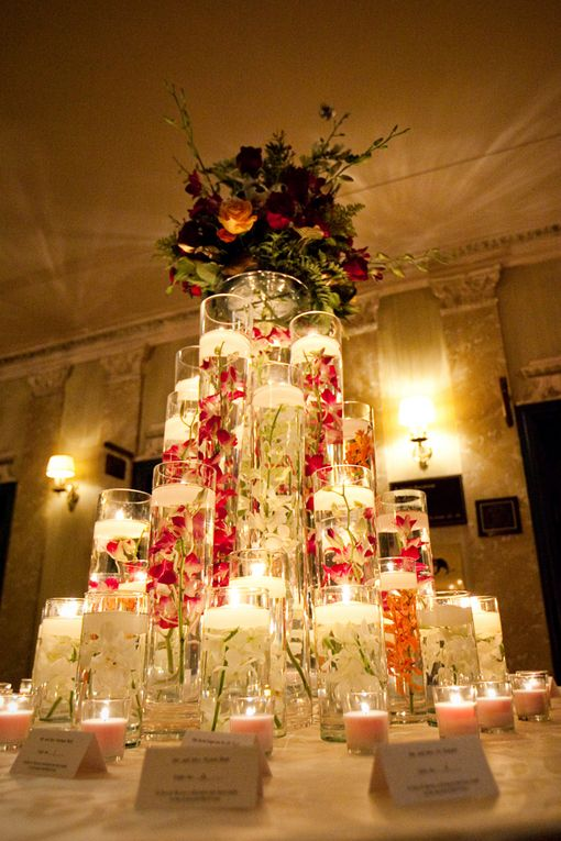 tiered candlelight (this one looks tacky, but the soft lighting of the candles, tiered is beautiful)