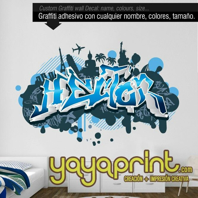 17 best images about graffiti de nombre en vinilo adhesivo for Crea tu habitacion 3d