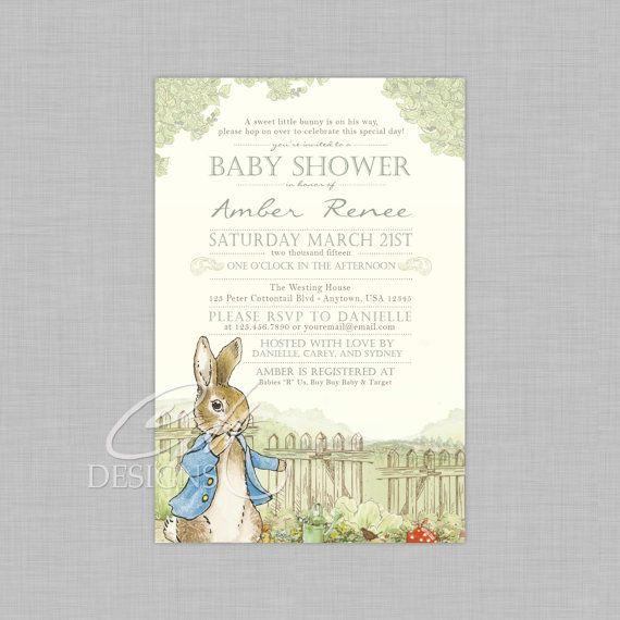 Peter Rabbit Baby Shower Invitation By Designsbycassiecm On Etsy