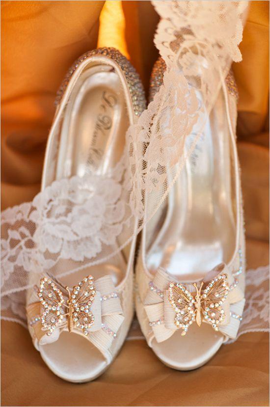 Elegant wedding heels with a bejeweled butterfly. #weddingshoes #elegantwedding #weddingchicks Captured By: AJ Dunlap ---> http://www.weddingchicks.com/2014/04/25/elegant-1920s-mansion-wedding/