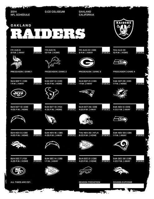 Oakland Raiders 2014 NFL Schedule Preseason Kick Off Vs Minnesota August 8th