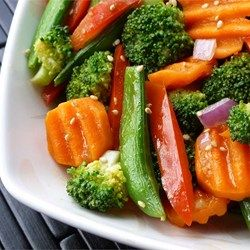 Ginger Veggie Stir-Fry - Simple veggies dressed with a bite of fresh ginger.