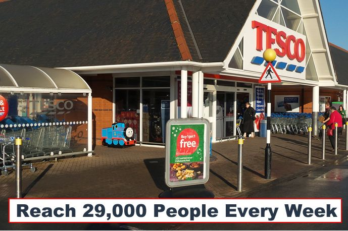 Local people buy from local companies, as long as they know they are there!  Ensure your business is on their mind by advertising at Tesco Stowmarket.