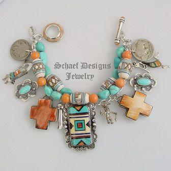 Schaef Designs Dry Creek Turquoise Coral Gary G Cross Blanket Kachina Charm Bracelet | New Mexico