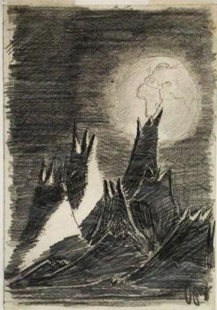 """""""Paisaje desde la luna"""" de Petr Ginz (1928-1944). Este dibujo se convirtió en un símbolo del Holocausto. Una copia de este dibujo fue llevado por el primer astronauta israelí en el último vuelo del transbordador Columbia, que explotó en el aire. Eso dio lugar a que este dibujo se hiciera mundialmente conocido y ha sido utilizado en carteles y sellos."""