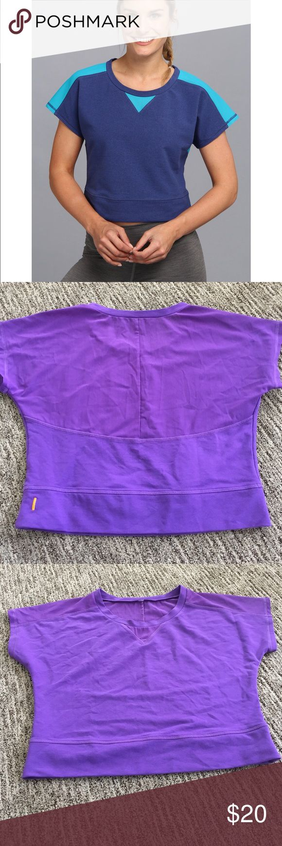 """Lucy crop pullover Women's active wear """"Lucy"""" purple crop pullover... Effortless, flattering style lines, a soft, lightweight jersey and mesh fabric on the back! After workout, you hardly feel sweats  also, it can be a main laying top with long sleeve shirts... thanks  Lucy Tops Crop Tops"""