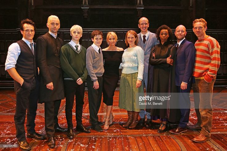 Jamie Parker, Alex Price, Anthony Boyle, Sam Clemmett, J.K. Rowling, Poppy Miller, Jack Thorne, Noma Dumezweni, director John Tiffany and Paul Thornley attends the press preview of 'Harry Potter & The Cursed Child' at The Palace Theatre on July 30, 2016 in London, England.