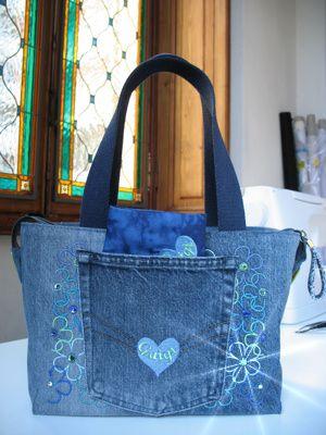 La borsa bauletto Recycled Denim - Parte posteriore