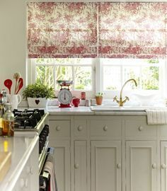 Parisian Red Roman Blind