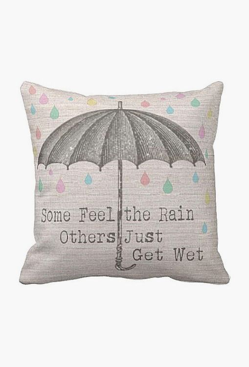 Pillow Cover Umbrella with Pastel Raindrops.. quote:)