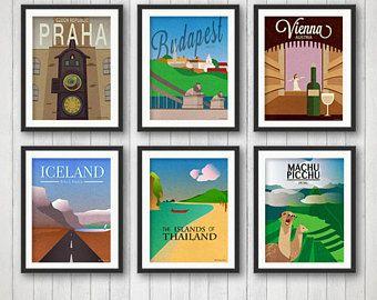 one of a kind travel posters!  travel, prague, budapest, vienna, thailand, iceland, peru, machu pichu, custom poster, world