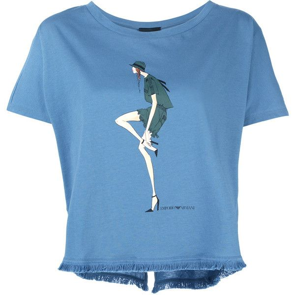 Emporio Armani doll print T-shirt ($159) ❤ liked on Polyvore featuring tops, t-shirts, blue, patterned tops, emporio armani, emporio armani t shirt, baby doll t shirt and babydoll tops