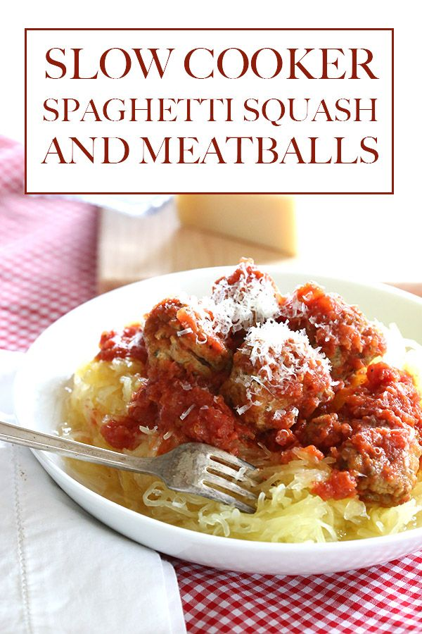 For an easy, healthy meal with minimal prep work, try this Slow Cooker Spaghetti Squash and Meatballs. It's low carb, too! #CrockPot