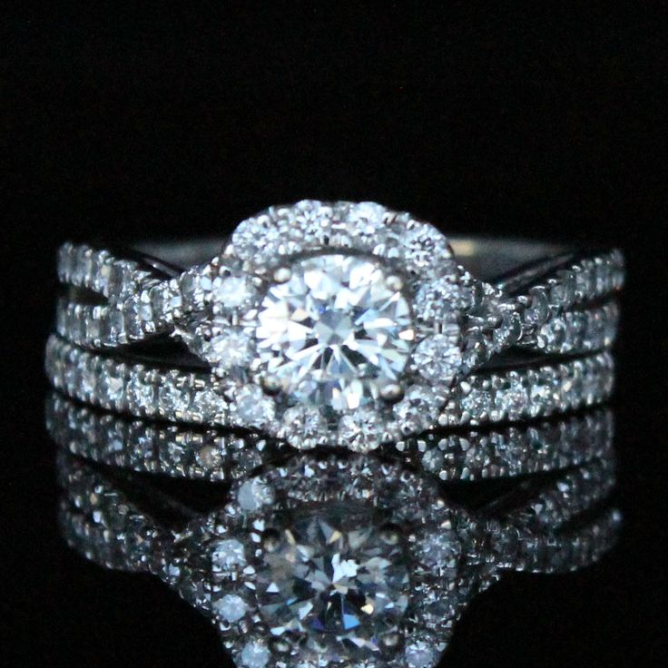 Awesome  CTW Halo Diamond Engagement Ring with Band Diamond Exchange Dallas Wholesale Diamonds