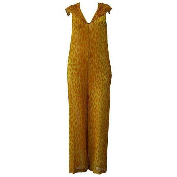Preowned Gianni Versace Couture Sheer Giraffe Print Silk Jumpsuit ($2,661) ❤ liked on Polyvore featuring jumpsuits, brown, brown jumpsuit, versace, sheer jumpsuits, versace jumpsuit and transparent jumpsuit