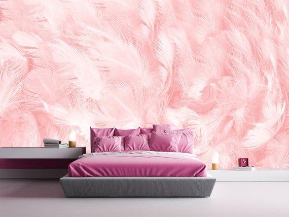 Pink Wallpaper Boho Feather Wallpaper Kid Room Girl Wallpaper Etsy Kids Room Wallpaper Pink Wallpaper Bedroom Children Room Girl