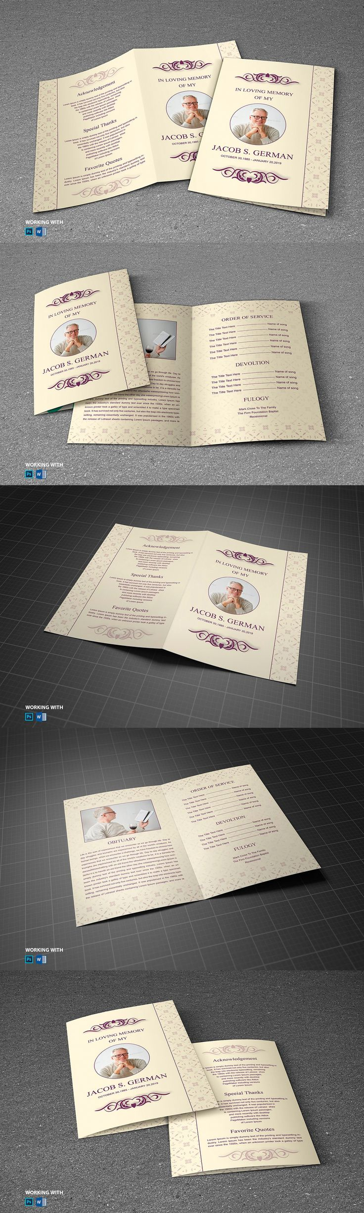 Funeral Program Template PSD, DOC