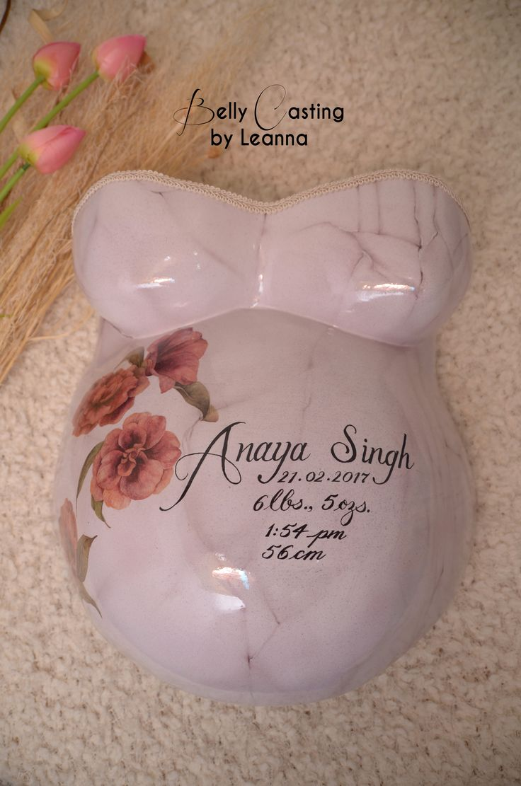 Marble background with beautiful flowers and hand written calligraphy.  Done by: Belly Casting by Leanna.