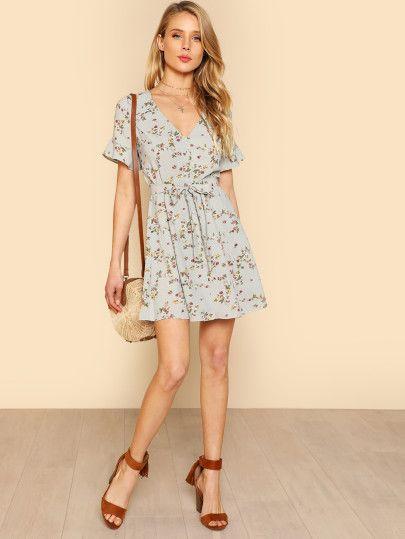 a38f37b0a6 Floral Print Ruffle Sleeve Button Down Dress IVORY MULTI -SheIn(Sheinside)