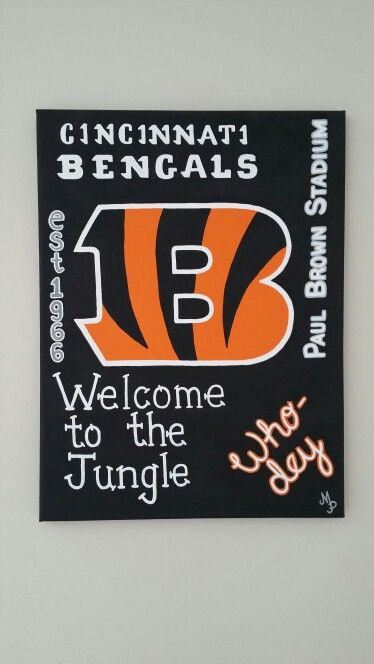 Painted canvas cincinnati bengals