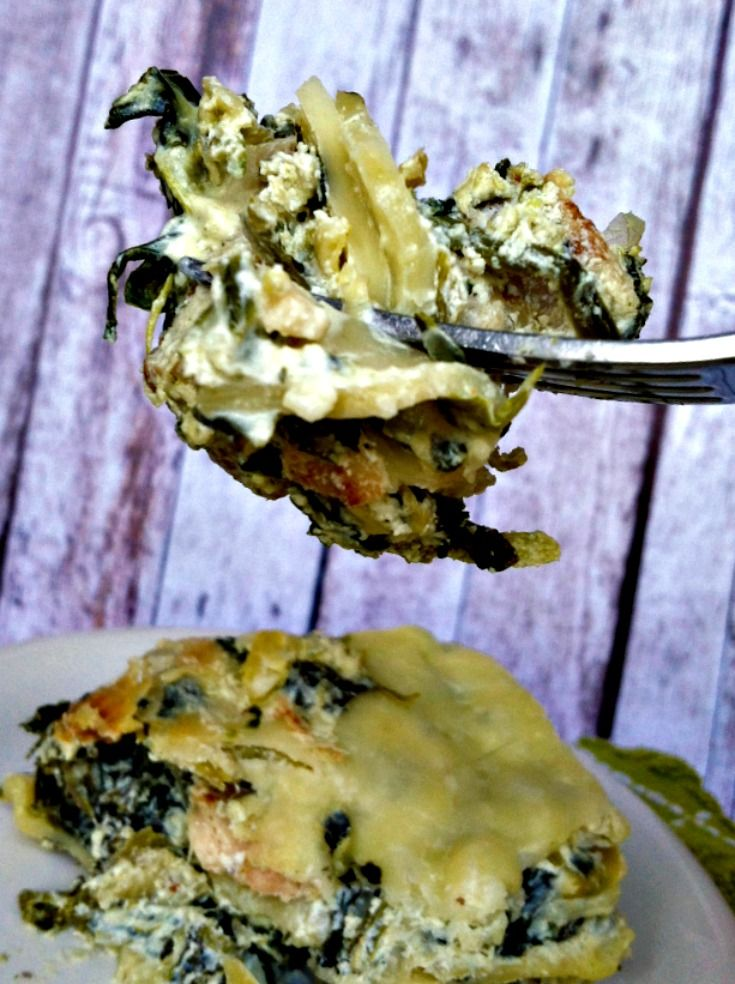 Creamy Spinach, Artichoke & Chicken Lasagna  #sponsored #MC