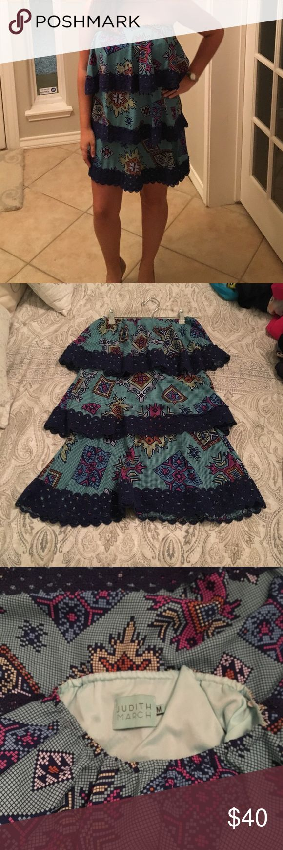 Judith March tiered dress This fun Judith March dress is comfy and cute! Three tiers with beautiful dark blue crochet details on each tier. Great condition! Judith March Dresses Strapless