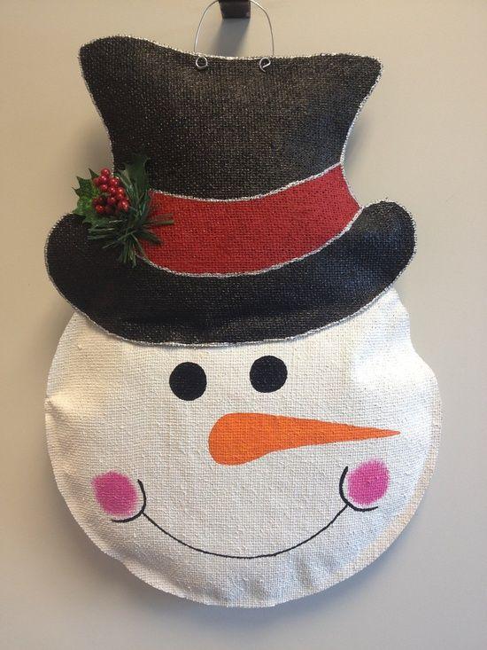 Burlap Christmas IDEAS   snowman burlap door hanger snowman burlap door hanger by ...