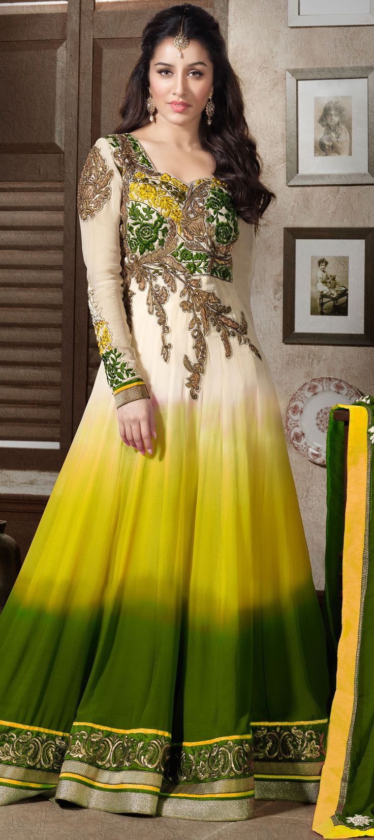 421712: #shraddhaKapoor #Ombre #Bollywood #Anarkali #mintcolors #onlineshopping #sale #Newyear #wedding #bridalwear