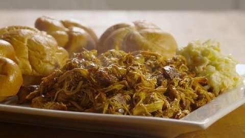 Zesty Slow Cooker Chicken Barbeque Allrecipes.com 1 bottle BBQ sauce 1 ...