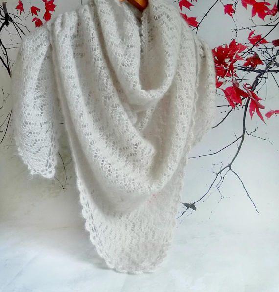 Lace knit scarf Beige knit lace shawl Bridal shawl Luxury
