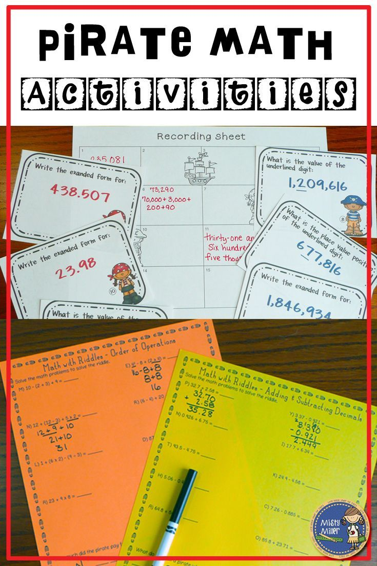Pirate Math Activities includes 3 math activities with a pirate theme. Great activities to use on Talk Like a Pirate Day! Place Value with whole numbers and decimals, order of operations, and adding and subtracting decimals are included. $ gr 5-7